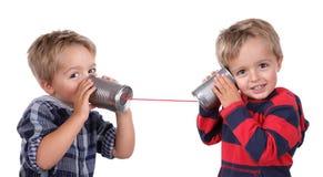 Téléphone de boîte en fer blanc Photographie stock libre de droits