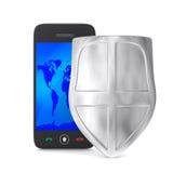 Téléphone et écran protecteur sur le fond blanc Photo libre de droits