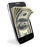 Téléphone intelligent avec le concept d'argent. Dollars. Image libre de droits