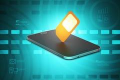 Téléphone intelligent mobile avec la sim-carte Photographie stock libre de droits
