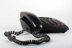 Téléphone noir d'isolement de ligne terrestre Image libre de droits