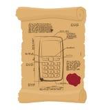 Téléphone portable avec des boutons sur le vieux rouleau Projet de papier d'antique Photographie stock
