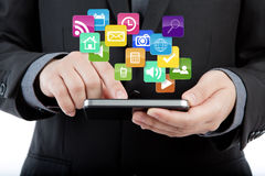 Téléphone portable d'utilisation d'homme d'affaires Image libre de droits