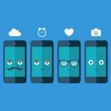 Téléphones intelligents avec des lunettes de soleil, des yeux, la moustache et le sourire sur le fond bleu illustration de vecteu Photos stock