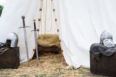 Tält av medeltida riddare Arkivbild