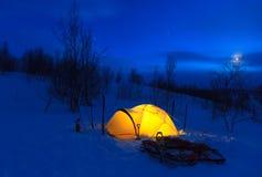 Tält på natten Royaltyfri Fotografi