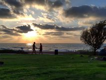Sunset on the TLV beach. TLV tel aviv israel clouds colors nature people stock photo