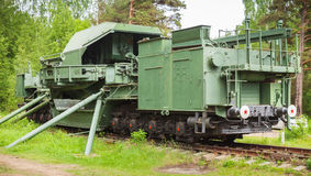 TM-1-180铁路枪 苏联军事纪念碑 图库摄影