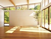 Töm rum av affären eller uppehållet med träbakgrund Royaltyfri Bild