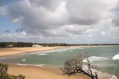 Töm stranden i staden Tofo Arkivbilder