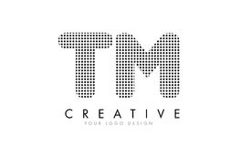 TM T M Letter Logo with Black Dots and Trails. Royalty Free Stock Image