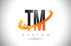 TM T M Letter Logo with Fire Flames Design and Orange Swoosh. TM T M Letter Logo Design with Fire Flames and Orange Swoosh Vector Illustration Royalty Free Stock Photo