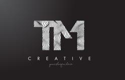 TM T M Letter Logo mit Zebra-Linien Beschaffenheits-Design-Vektor stock abbildung