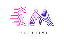 TM T M Zebra Lines Letter Logo Design with Magenta Colors Stock Photography