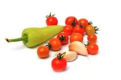 Tmaato dell'aglio del peperone dolce sull'isolato Fotografie Stock Libere da Diritti