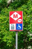 TMB metro sign outside station at Barcelona. Stock Images