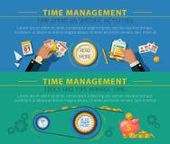 Tme Management Concept 2 Banners Set Stock Photo
