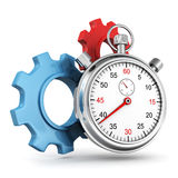 Tme works concept with stopwatch and gears. 3d royalty free illustration