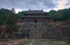 Tmple velho do kungfu do taoist no montain fotos de stock
