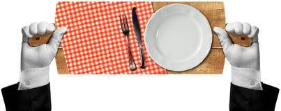 Tnąca deska z talerzem i Cutlery Fotografia Stock