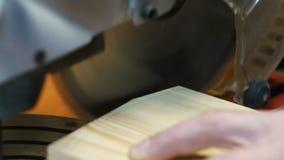 Tnąca drewniana deska elektrycznym saw zdjęcie wideo