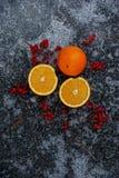 Tnące pomarańcze i czerwone jagody Zdjęcie Royalty Free