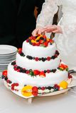 Tnący świeży ślubny fruitcake obrazy royalty free
