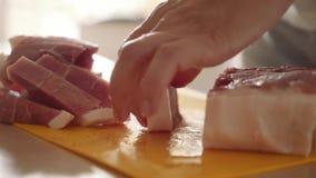 Tnący mięso na plastikowej kuchni desce Kobieta wręcza zakończeniu rżniętych mięsnych plasterki z nożem zbiory wideo