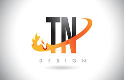TN T N Letter Logo with Fire Flames Design and Orange Swoosh. TN T N Letter Logo Design with Fire Flames and Orange Swoosh Vector Illustration Royalty Free Stock Photo