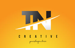 TN T N Letter Modern Logo Design with Yellow Background and Swoo. TN T N Letter Modern Logo Design with Swoosh Cutting the Middle Letters and Yellow Background Stock Image