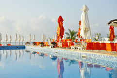 Tne pool and the cafe. Early morning in empty cafe by the pool on the beach in Bulgaria Royalty Free Stock Photo