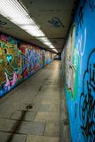 Túnel peatonal con grafitis Imagen de archivo