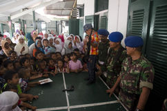 TNI INDONESIAN MILITARY RESTRUCTURING PLAN. Children visit Indonesian Army's Military Police Barracks at Solo, Java, Indonesia. The Indonesian government is Stock Photography