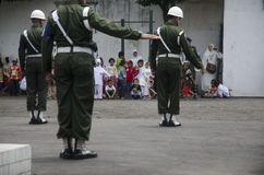 TNI INDONESIAN MILITARY RESTRUCTURING PLAN. Children visit Indonesian Army's Military Police Barracks at Solo, Java, Indonesia. The Indonesian government is Stock Image