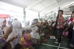 TNI INDONESIAN MILITARY RESTRUCTURING PLAN. Children visit Indonesian Army's Military Police Barracks at Solo, Java, Indonesia. The Indonesian government is Royalty Free Stock Photo