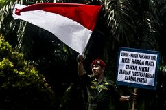 TNI INDONESIAN MILITARY RESTRUCTURING PLAN. A nationalism campaign by army soldier Partika Subagyo at Solo, Java, Indonesia. The Indonesian government is Stock Photo
