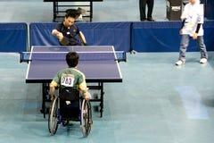 Tênis de tabela dos homens da cadeira de roda Imagem de Stock Royalty Free