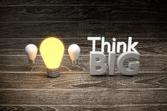 tänk den stora idén, den olika funderaren är en ledare till framgång per affärsutbildning, begreppsmässigt Royaltyfri Fotografi