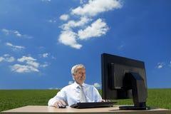 tänka för blå sky Arkivfoto