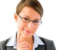 tänkande kvinna för attraktiv affär Royaltyfri Fotografi