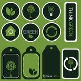 tänker gröna etiketter för begrepp vektorn Arkivbild