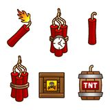 Tnt and dynamite set. Set with tnt, explosive, detonator and dynamite Stock Photography