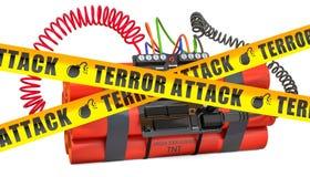 TNT-het bomexplosief met de digitale klok van de aftelproceduretijdopnemer en het gevaar waarschuwen barrièrebanden, het 3D terug stock illustratie