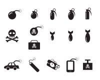 TNT i jad bombowe ikony w sylwetce projektują Zdjęcia Stock