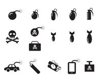 TNT and Poison bomb icons in silhouette style Stock Photos