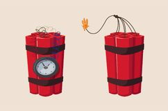 TNT time bomb with clock. Cartoon vector illustration. Mining theme. For web or print Stock Image