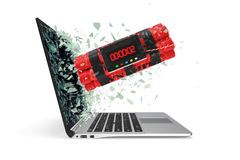 Tnt timer takes off from the laptop screen glass breaking into small particles. 3d illustration Stock Photography