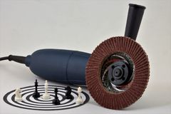 Electric grinding machine Darts chess stock image