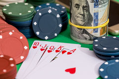 10 to Ace heart straight flush on poker and casino chips, money Royalty Free Stock Photo