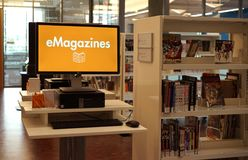 Libraries have eMagazines too Stock Image